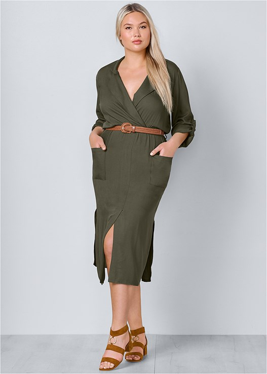 Olive BELTED MIDI SHIRT DRESS from VENUS