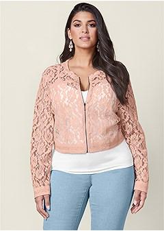 plus size lace crop jacket