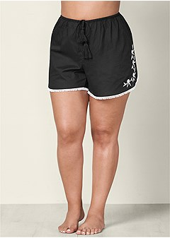 plus size embroidered sleep shorts