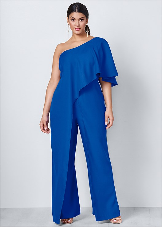 ONE SHOULDER JUMPSUIT,HIGH HEEL STRAPPY SANDALS,HOOP DETAIL EARRINGS,CONFIDENCE TUMMY SHAPER