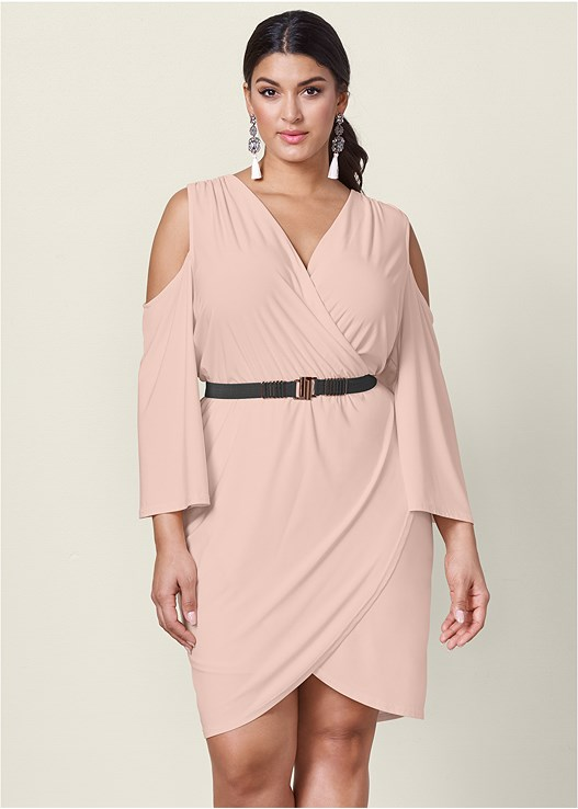 COLD SHOULDER BELTED DRESS,HIGH HEEL STRAPPY SANDALS