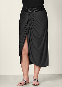 plus size faux leather waistband detail maxi skirt