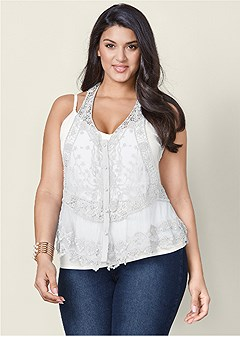 plus size lace button front top