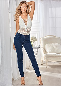 lace up deep v bodysuit