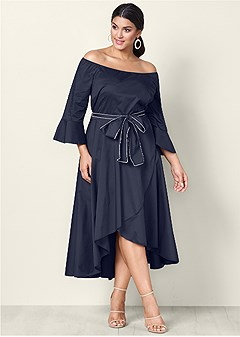 plus size bow detail high low dress