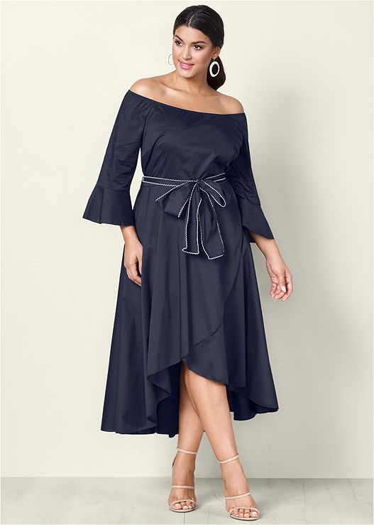Plus Size Bow Detail High Low Dress Venus