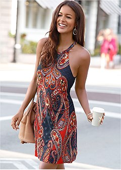 sleeveless paisley print mini shift dress