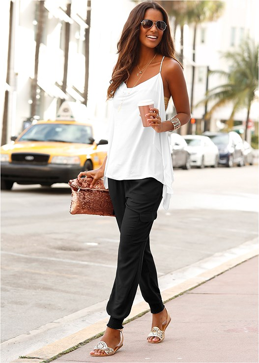 DRAPE NECK TANK,RIPPED JEANS,HIGH HEEL STRAPPY SANDALS