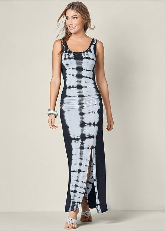 Tie Dye Maxi Dress In Black Multi Venus