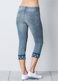 Back view Star Cuff Capri Jeans