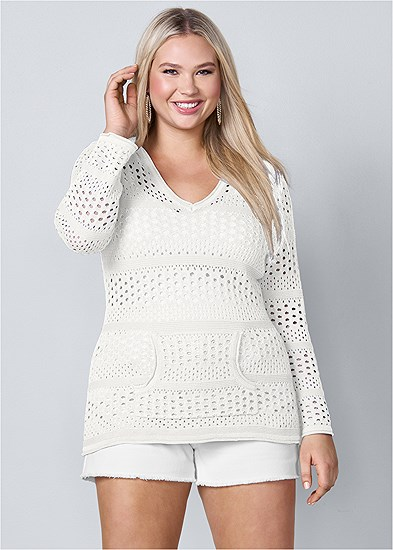 Plus Size Long Sleeve Hooded Sweater