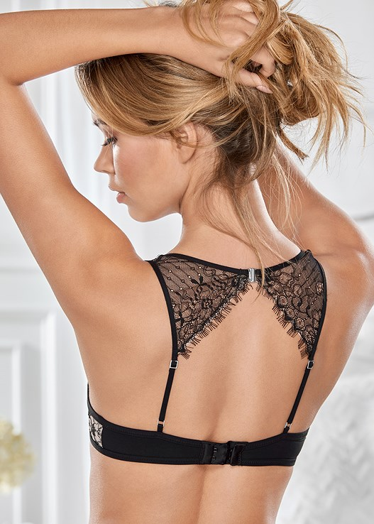 OPEN BACK PUSH UP BRA,EYELASH LACE THONG