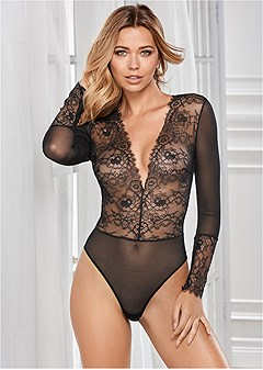 lace deep v bodysuit