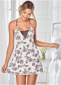 paisley print lace chemise