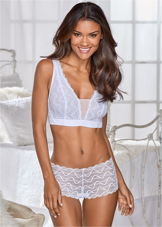 ALL LACE TANGA PANTY,LACE PLUNGE BRALETTE
