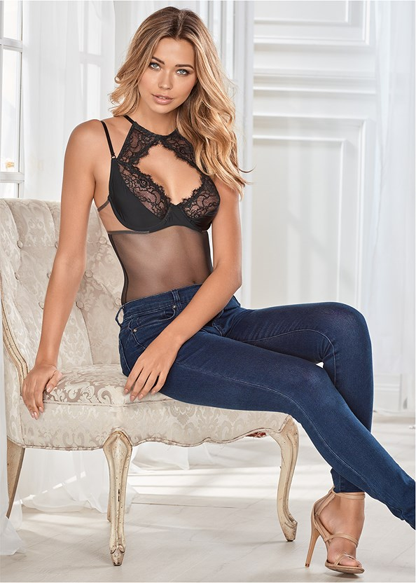 Eyelash Lace Sheer Bodysuit,Bum Lifter Jeans,High Heel Strappy Sandals