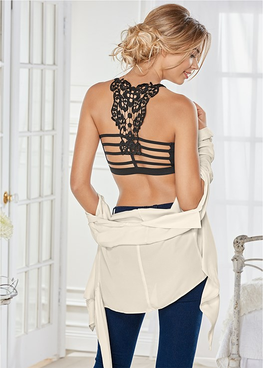 CROCHET BACK BRALETTE,LACE TOP PANTIES 5 FOR $29,SURPLICE SIDE TIE BLOUSE,BUM LIFTER JEANS
