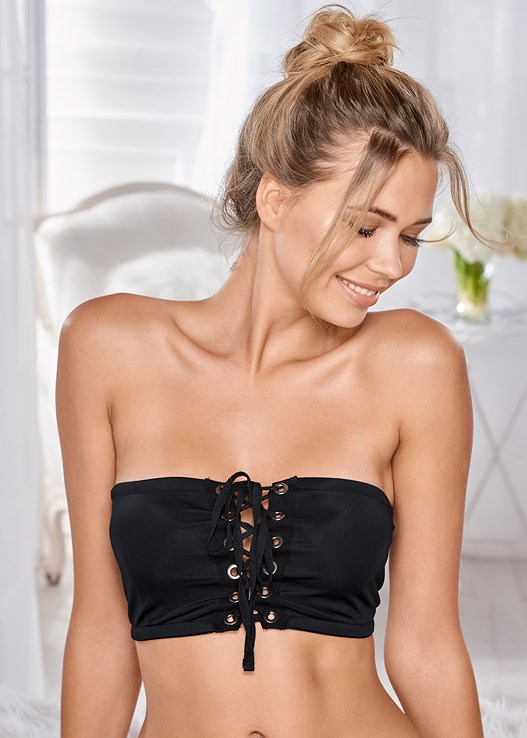 GROMMET LACE UP BRALETTE,LACE TOP BRIEF 5 FOR $29