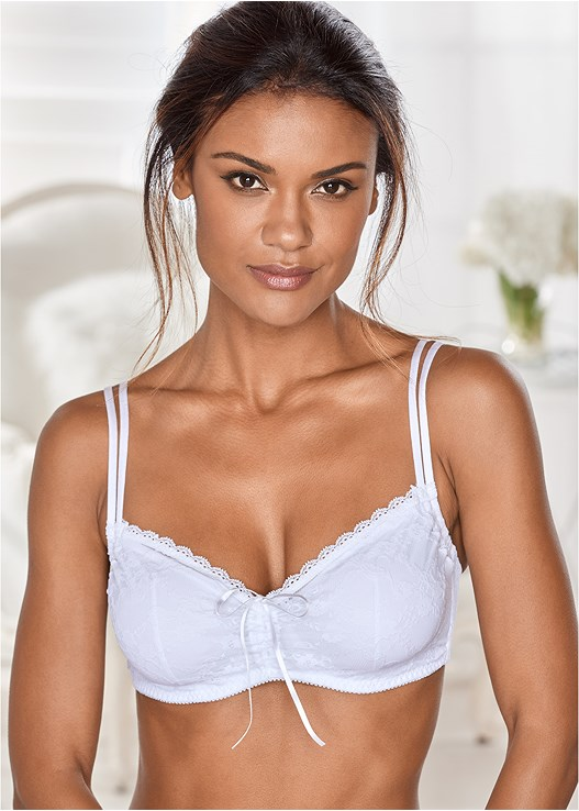 ADJUSTABLE NECKLINE BRA,LACE THONG 3 FOR $19