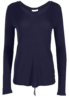 plus size ruched back long sleeve top