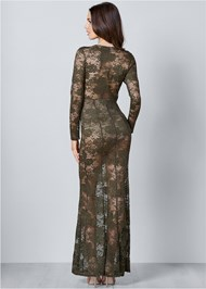 Back View Sheer Lace Detail Dress