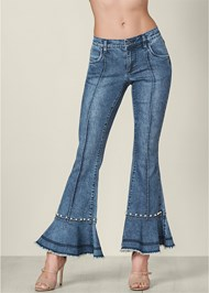 Front View Pearl Detail Jeans