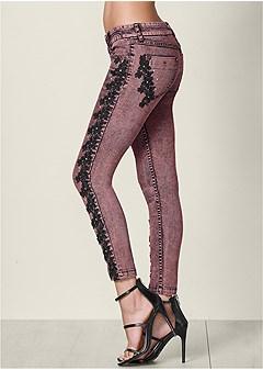 lace detail acid wash jeans