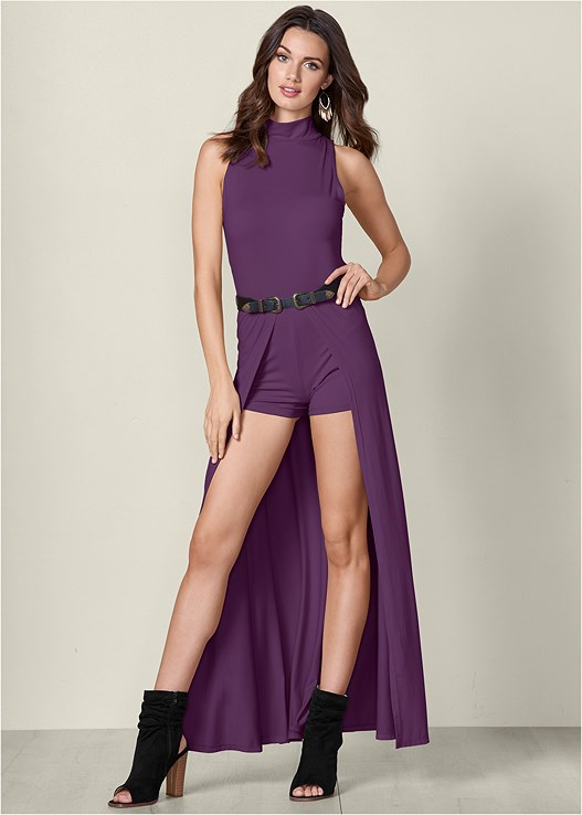 MOCK NECK BELTED ROMPER,OPEN HEEL BOOTIE,KNOT DETAIL FLOPPY HAT,CONFIDENCE SHAPING ROMPER