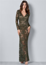 Front View Sheer Lace Detail Dress