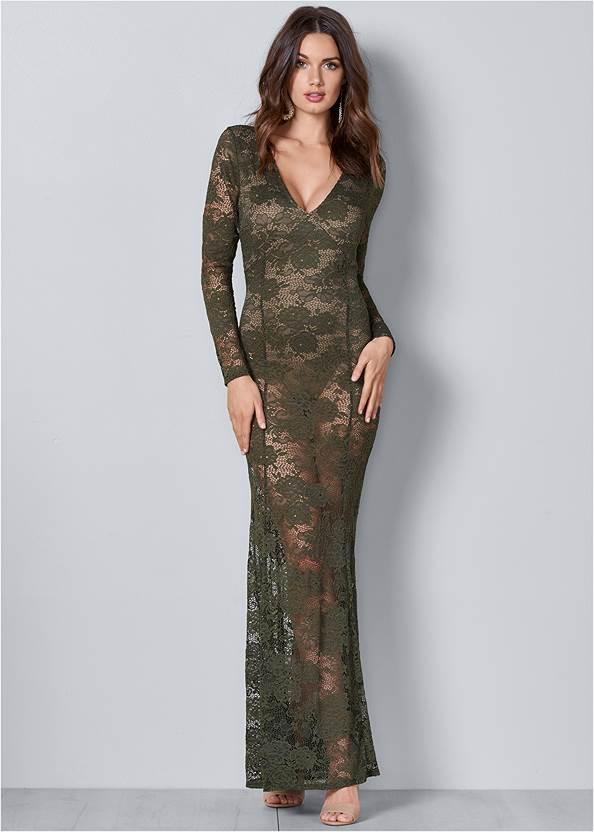 Sheer Lace Detail Dress,Beaded Drop Earrings
