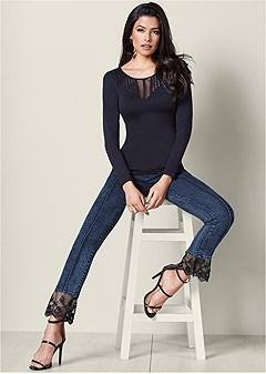 lace detail jeans