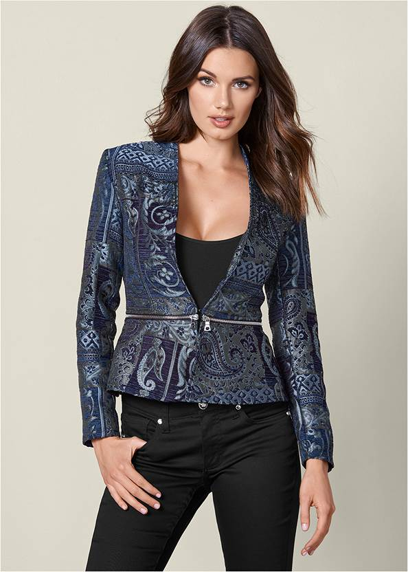 Paisley Print Jacket,Mid Rise Color Skinny Jeans,Basic Cami Two Pack