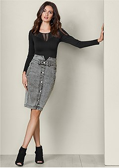 high waisted jean skirt