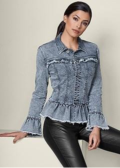 ruffle detail jean jacket