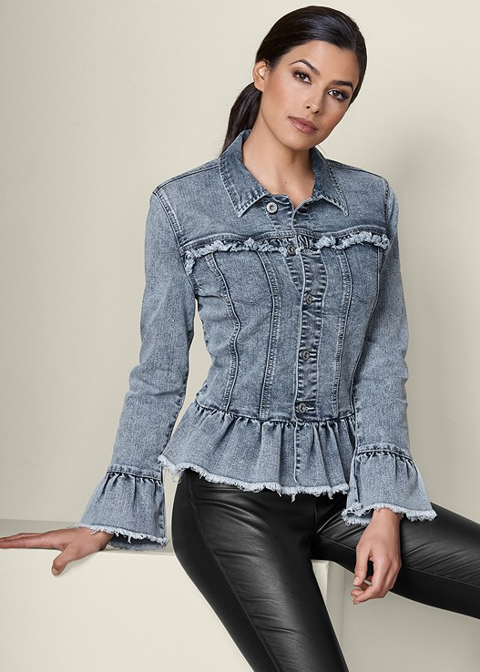 RUFFLE DETAIL JEAN JACKET,FAUX LEATHER LEGGINGS