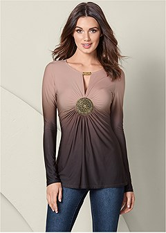 embellished ombre top