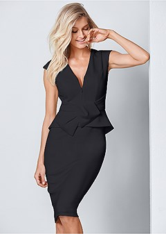 bow detail bodycon dress