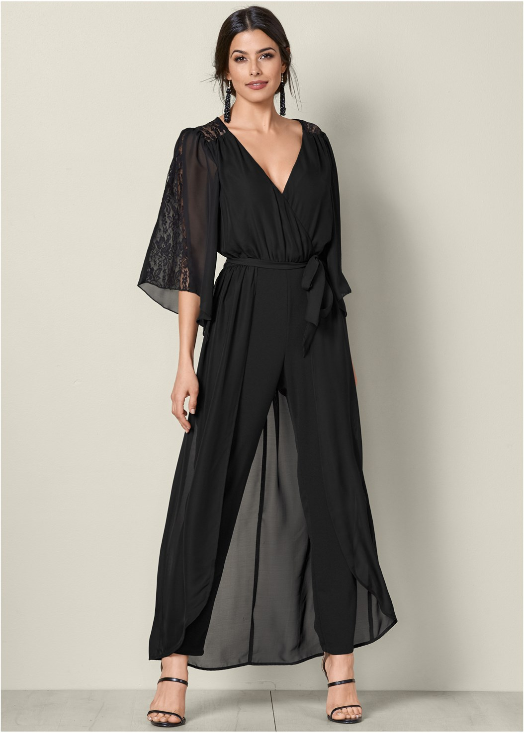 Lace Detail Jumpsuit,High Heel Strappy Sandals