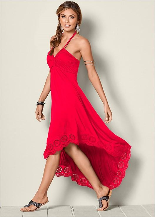 HIGH LOW HALTER DRESS