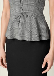 Alternate View Lace Up Peplum Top