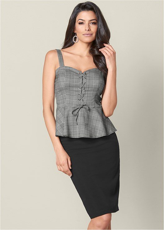 LACE UP PEPLUM TOP,T-STRAP HEEL,MESH HOOP EARRINGS