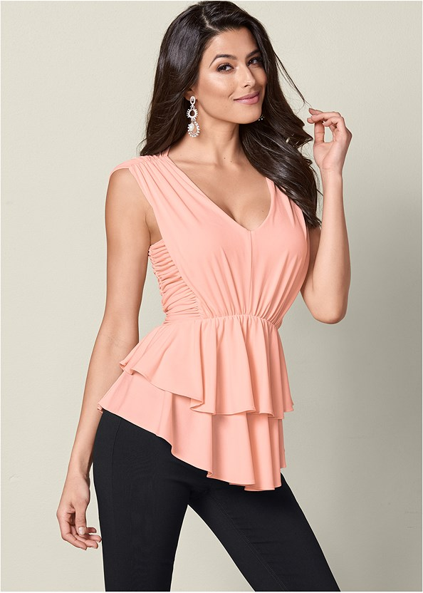 Ruffle Top,Mid Rise Slimming Stretch Jeggings