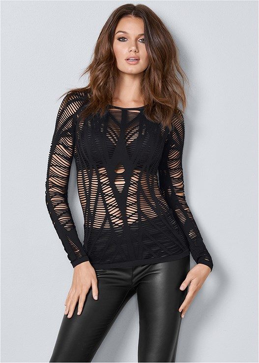SEAMLESS CUT OUT TOP,KISSABLE STRAPPY PUSH UP,FAUX LEATHER LEGGINGS,PERFORATED LACE UP HEEL
