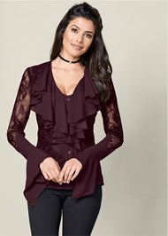 Front View Lace Ruffle Blouse