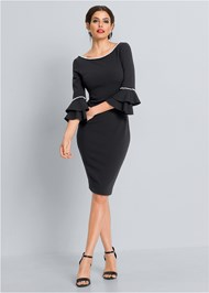 Front View Pearl Tiered Sleeve Dress