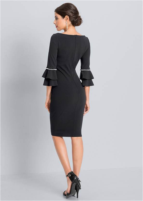 Back View Pearl Tiered Sleeve Dress