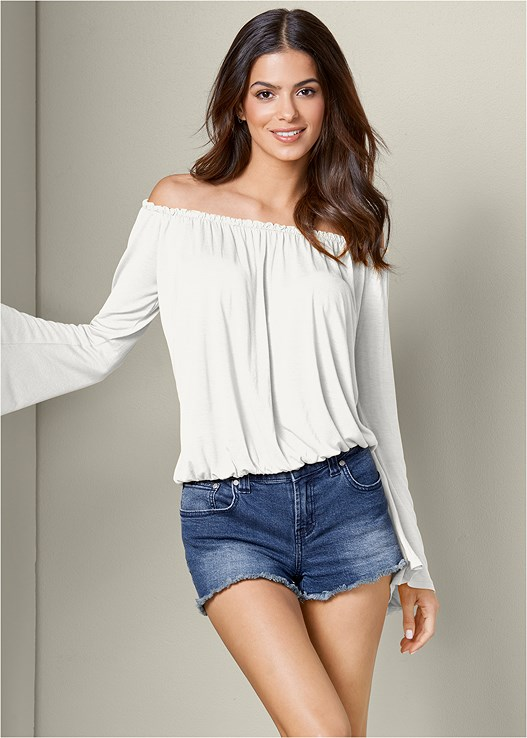 OFF SHOULDER BELL SLEEVE TOP,CUT OFF JEAN SHORTS,EMBELLISHED ROPE SANDALS