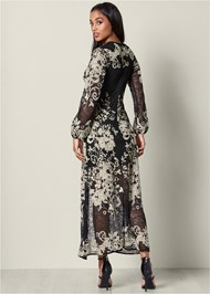 Back View Embroidered Long Dress