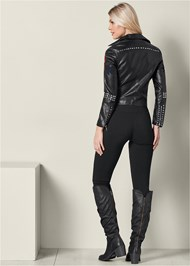 Back View Moto Faux Leather Jacket