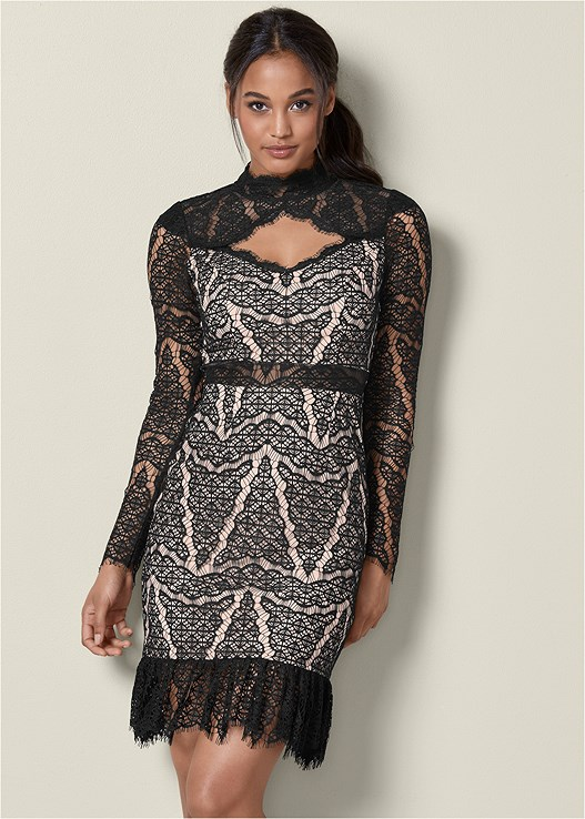 LACE DETAIL DRESS,EMBELLISHED BUCKLE HEEL,RHINESTONE BANGLES